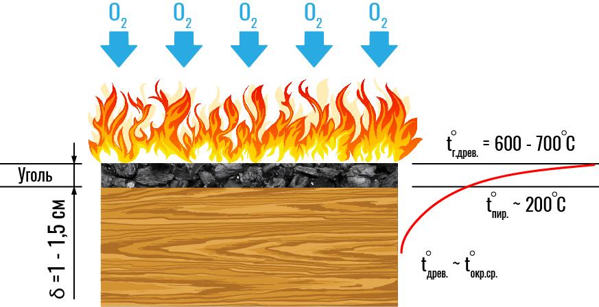 Рис. 3. Эпюра распределения температуры в древесине при горении