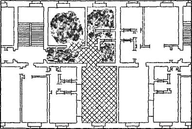 Рис 4. Схема распространения пожара в этаже с секционной планировкой.