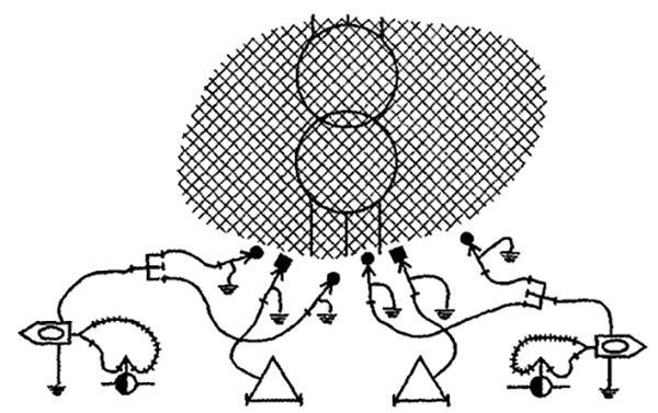 Рис. 2. Схема подачи в зону горения распыленной воды и огнетушащего порошка
