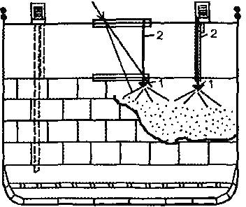 Подача стволов-распылителей в трюм по стальному канату